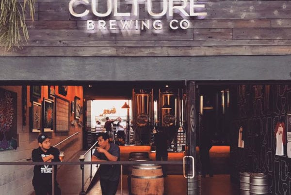 Two people enjoying a beer in Culture Brewing Co in Solana Beach.