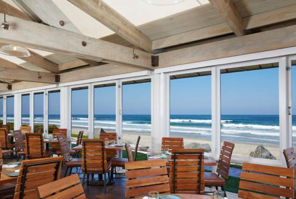 A view of the Pacific ocean from inside Jake's Del Mar.