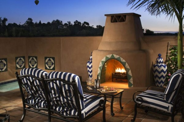Rancho Valencia patio firepit and chairs.