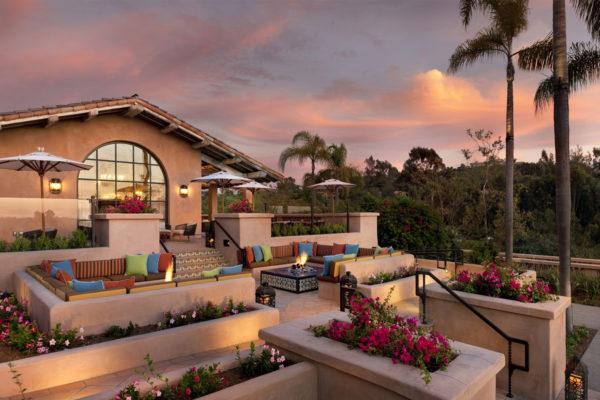 Rancho Valencia patio at sunset.
